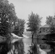 Old Mills Prints - Pump House And Dam At South Hadley Print by Everett
