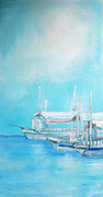 Lyn Deutsch Art - Pumpboats In Maya by Lyn Deutsch