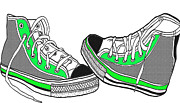 Girls Shoes Prints - Pumped Up Kicks Print by Cheryl Young