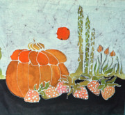 Fruit Tapestries - Textiles Metal Prints - Pumpkin and Asparagus Metal Print by Carol  Law Conklin