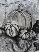 Raven Drawings Originals - Pumpkin and Nevermore by Diana Kaye Obe