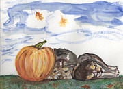 Puppies Pastels - Pumpkin and Puppies by Pamela Wilson