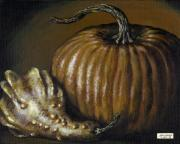Interior Still Life Painting Metal Prints - Pumpkin and Winged Gourd Metal Print by Adam Zebediah Joseph