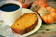 Autumn Decorations Posters - Pumpkin bread and Coffee Poster by Darren Fisher