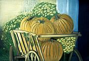 Life Pastels Acrylic Prints - Pumpkin Cart in Boerne Acrylic Print by Jan Amiss