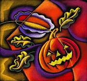 Autumn Leaf Paintings - Pumpkin fun by Leon Zernitsky