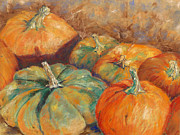 Harvest Art Pastels Framed Prints - Pumpkin Harvest Framed Print by Hilda Vandergriff