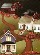Cottage Print Paintings - Pumpkin Harvest in Mapleton  by Catherine Holman