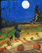 Pumpkins Paintings - Pumpkin Harvest by Sylvia Pimental