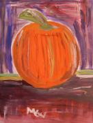 Primitive Drawings - Pumpkin in the Barn by Mary Carol Williams