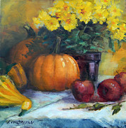 Gourds Paintings - Pumpkin in the Middle by Kit Dalton