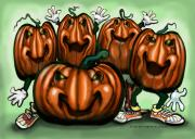 Pumpkins Paintings - Pumpkin Party by Kevin Middleton