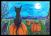 Haunted House Print Prints - Pumpkin Patch Cats Print by Paintings by Gretzky