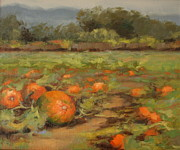Pumpkins Paintings - Pumpkin Patch Half Moon Bay by Kristen Olson