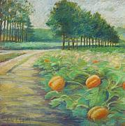 New England. Pastels Posters - Pumpkin Patch Poster by Leslie Alfred McGrath