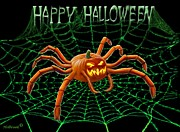 Haunted Digital Art - Pumpkin Spider by Glenn Holbrook
