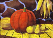 Corn Paintings - Pumpkin Still Life - Homage to Jon Gnagy by Brian Wallace