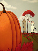 Autumn Folk Art Posters - Pumpkin Valley Poster by Catherine Holman