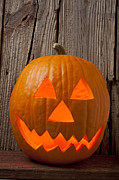 Carve Prints - Pumpkin with wicked smile Print by Garry Gay