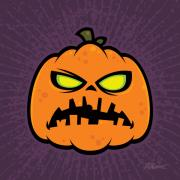 Scary Digital Art Prints - Pumpkin Zombie Print by John Schwegel