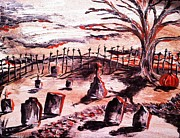 Cemetary Paintings - Pumpkin19 by Paula Shaughnessy