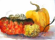 Pumpkins Paintings - Pumpkins and Gourds by Dorothy Braun