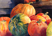 Interior Decorating Originals - Pumpkins and Green Pumpkin by Hilda Vandergriff