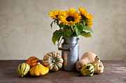Thanksgiving Art Photos - Pumpkins and Sunflowers by Nailia Schwarz