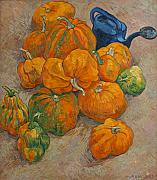 Pumpkins Paintings - Pumpkins and watering can by Vitali Komarov