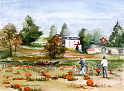 Pumpkins Paintings - Pumpkins at None Such Farm by Peg Ott Mcguckin