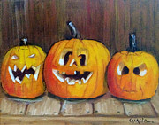 Pumpkins Paintings - Pumpkins by Gracie Hampton