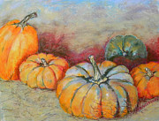 Harvest Art Pastels Prints - Pumpkins Print by Hilda Vandergriff