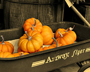 Fall Scenes Digital Art - Pumpkins In A Wagon by Smilin Eyes  Treasures