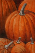 Pumpkins Paintings - Pumpkins by Linda Eades Blackburn