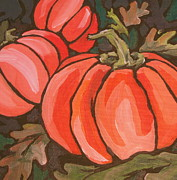 Vine Painting Originals - Pumpkins by Sandy Tracey