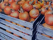 Pumpkins Paintings - Pumpkins two by Constance Drescher