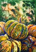 Pumpkins Paintings - Pumpkins  by Zaira Dzhaubaeva
