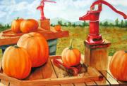 Pumpkins Paintings - Pumps and Pumpkins by Karen Stark