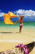 White Cloth Posters - Punaluu Beach Vacation Poster by Tomas del Amo - Printscapes