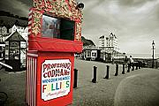 Conwy Posters - Punch and Judy theatre on Llandudno promenade Poster by Mal Bray
