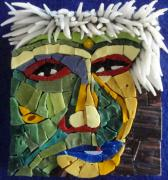 Mosaic Glass Art - Punk - Fantasy Face No. 18 by Gila Rayberg