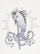 Blue Drawings Framed Prints - Punk Fish Framed Print by Ethan Harris