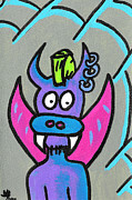 Fangs Drawings Posters - Punk Rock PuppyDragon Poster by Jera Sky