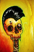 Metallica Painting Posters - Punk Rock Skull Poster by Elaine Alonzo