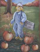 Pumpkins Paintings - Punkins for Sale by Leslie Manley