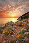 Italian Sunset Framed Prints - Punta Rossa Framed Print by Paolo Corsetti