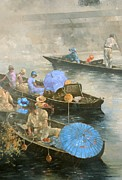 Umbrella Prints - Punts on the Wey at Brooklands Print by Peter Miller