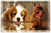 Puppy Digital Art Originals - Pup and Squirrel by John Breen