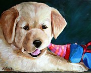 Toy Animals Painting Framed Prints - Pup and Toy Framed Print by Mary Sparrow Smith