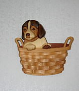 Intarsia Sculpture Framed Prints - Pup in basket Framed Print by Bill Fugerer